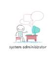 system administrator communicates with people from vector image