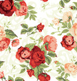 Seamless floral pattern with red and orange roses vector image