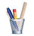 stack pen pencil ruler vector image vector image