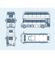 red double-decker bus top front side back view vector image