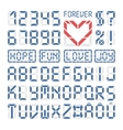 Digital font latin alphabet letters and numbers vector image