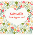 flowers frame with colorful floral heart summer vector image