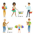 people of different ages make shopping vector image