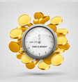 time money clock with coins objects vector image