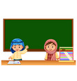 two irag kids in classroom vector image