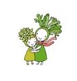 Cute cartoon succulents vector image