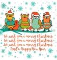 Christmas card with cartoon owl vector image