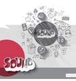 Hand drawn sound icons with icons background vector image vector image