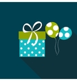 Gift Box Flat Icon with Long Shadow vector image