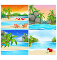 Four scene of beach and island vector image