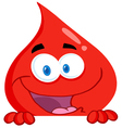 blood guy smiling over a blank sign vector image vector image