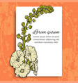 floral postcard template on orange vector image