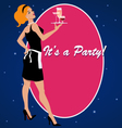 Party invitation with a cocktail waitress vector image