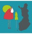 Santa Claus with bag an Christmas tree in Finland vector image