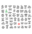 set of 50 black ink christmas and happy new year vector image