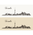 Toronto skyline Canada vintage engraved hand drawn vector image