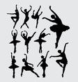 Ballet female dancer silhouettes vector image