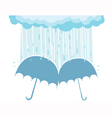 of raining clouds and two umbrellas vector image