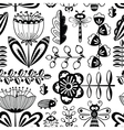 seamless pattern with flowers and insects vector image