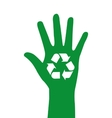 hand with symbol recycle isolated icon design vector image