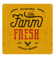 farm fresh eco food poster all natural locally vector image