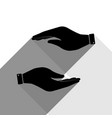 hand sign black icon with vector image