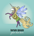 Horse card sketch fly vector image