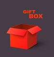 Open Red Box Isolated on Dark Background vector image