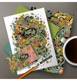 Cartoon doodles hippie corporate identity vector image