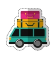 car vehicle travel with suitcases icon vector image