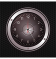 Clock in a speaker on black metallic background vector image vector image