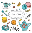 Beautiful hand drawn tea time set with sweet vector image