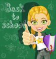 Cute girl at the board back to school vector image