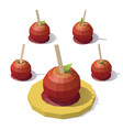 low poly caramel apple vector image
