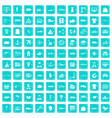 100 logistic and delivery icons set grunge blue vector image