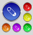 Pushpin icon sign Round symbol on bright colourful vector image