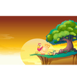 Hen in a beautiful nature vector image