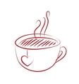 tea cup with red heart vector image vector image