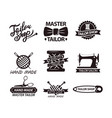 set of logos for handmade shops tailor salon vector image