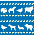 Seamless pattern with farm animals silhouettes vector image vector image