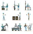happy people working in oil industry set of vector image