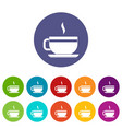tea cup and saucer icons set flat vector image