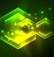 techno glowing glass hexagons background vector image