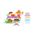 group of kids with books reading cute children vector image