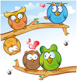 comic owl group cartoon on tree vector image