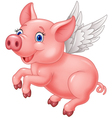 Cute pig cartoon flying on white background vector image