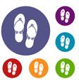 flip flop sandals icons set vector image