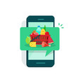 food on mobile phone screen vector image