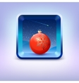 Icon with red Christmas ball night sky and falling vector image