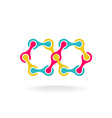 Infinity chain with segments colorful rainbow logo vector image